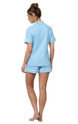 Model wearing  Light Blue and White Polka Dot Oh-So-Soft Pin Dot Short Set, facing away from the camera image number 1