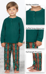 Close-ups of Christmas Tree Plaid Toddler Pajamas features - Henley neckline, cuffed long-sleeve top and full-length PJ pants image number 3