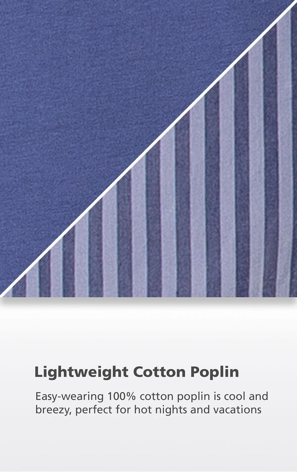 Navy fabric swatch with the following copy: Easy-wearing 100% cotton poplin is cool and breezy, perfect for hot nights and vacations image number 4