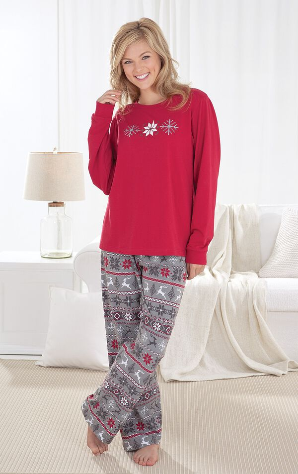 Model wearing Nordic Women's Pajamas by couch image number 3