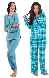 Models wearing World's Softest Jogger Pajamas - Teal and Wintergreen Plaid Boyfriend Flannel Pajamas.