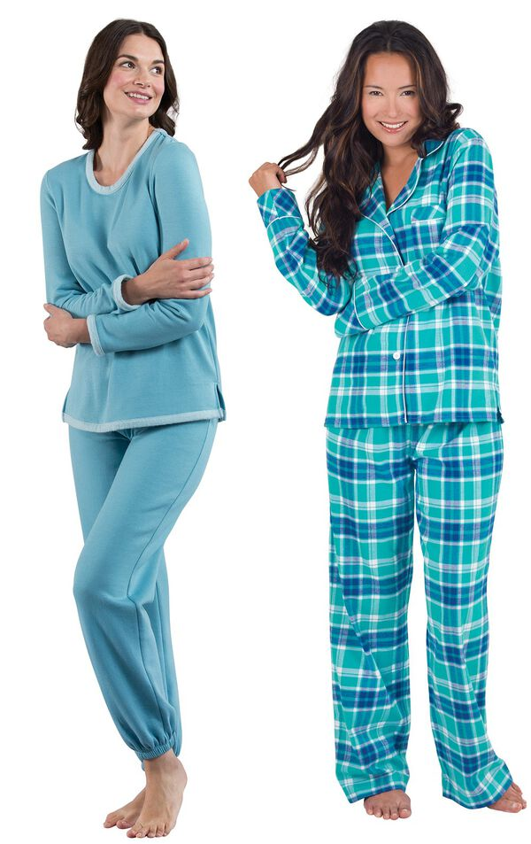 Models wearing World's Softest Jogger Pajamas - Teal and Wintergreen Plaid Boyfriend Flannel Pajamas. image number 0