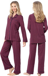Model wearing Deep Red Print Button-Front PJ for Women, facing away from the camera and then to the side image number 1