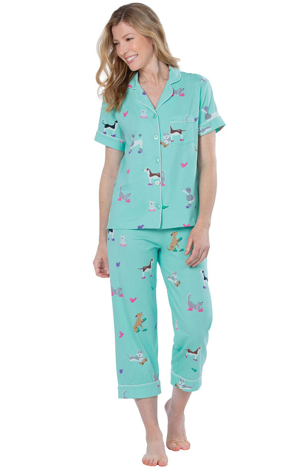 Model wearing Light Blue Dog Print Short Sleeve Button-Front Capri PJ for Women image number 0