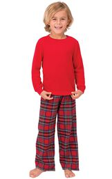 Model wearing Red Classic Plaid Thermal Top PJ for Kids image number 0