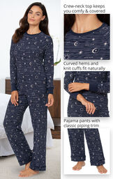 Celestial Pajamas feature a crew-neck top that keeps you warm and covered, curved hems and knit cuffs that fit naturally and pajama pants with classic piping trim image number 3