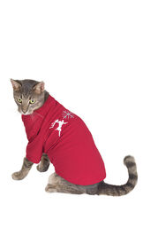 Model wearing Red and Gray Fair Isle PJ for Cats