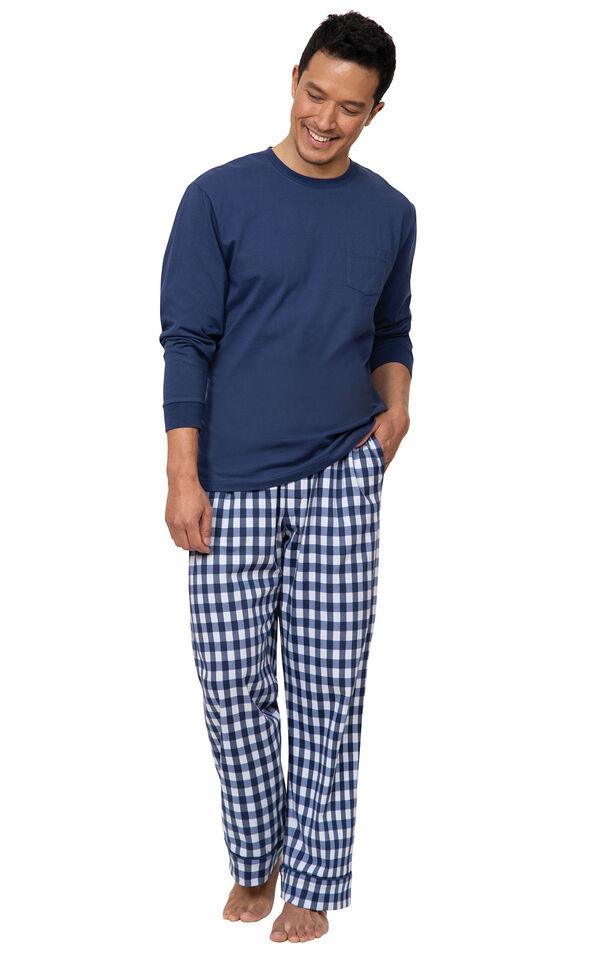 Model wearing Blue Gingham PJ for Men image number 0