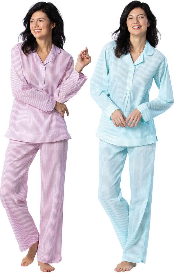 Models wearing Addison Meadow Summer Pullover PJs - Mauve Stripe and Addison Meadow Summer Pullover PJs - Aqua Stripe image number 0