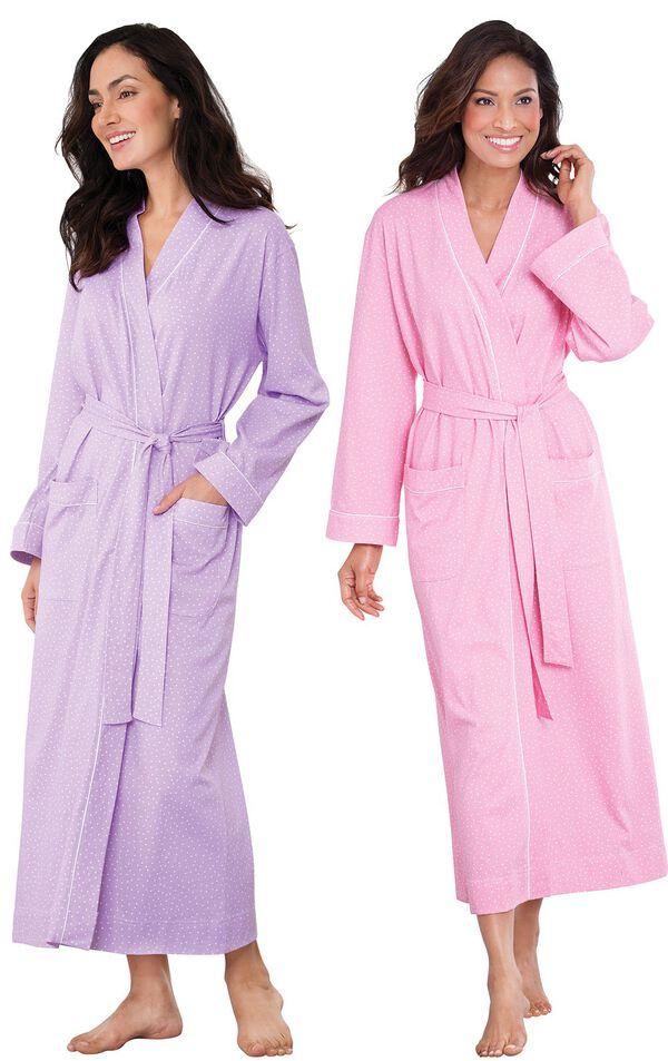 Models wearing Classic Polka-Dot Robe - Lavender and Classic Polka-Dot Robe - Pink. image number 0