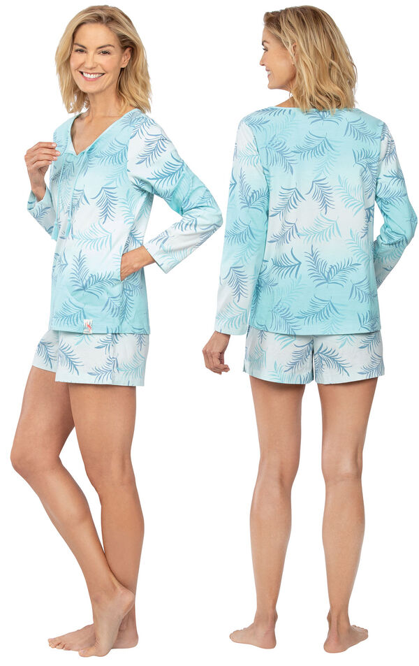 Model wearing Blue Palm Margaritaville Long Sleeve Short Set for Women, facing away from the camera and then to the side image number 1