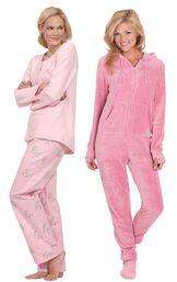 Models wearing Snuggle Bunny Pajamas and Hoodie-Footie - Pink. image number 0