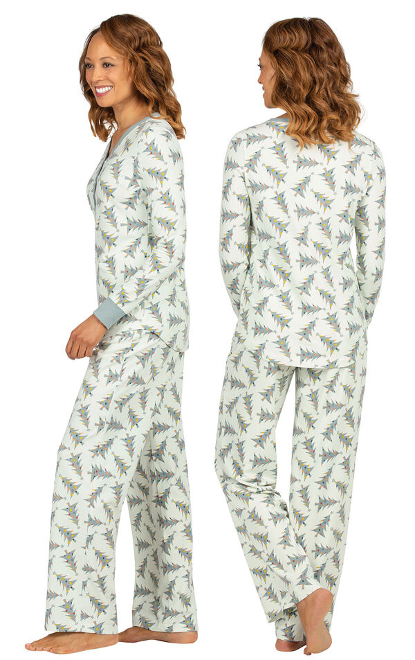Model wearing Green Pine Tree PJ for Women, facing away from the camera and then to the side image number 1