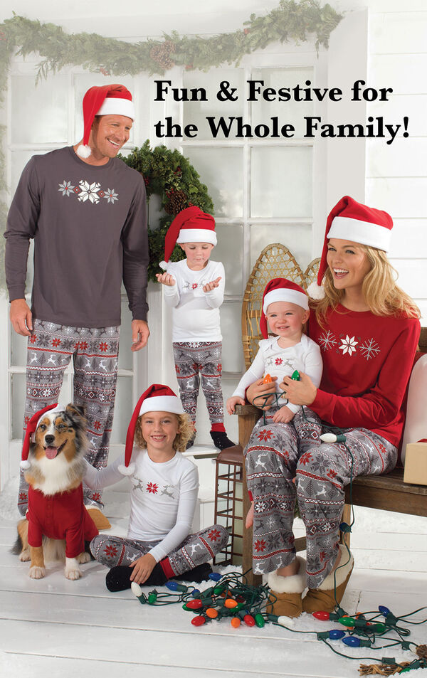 Parents, Kids and pets wearing Red and Gray Nordic Matching Family Pajamas. Headline: Fun and Festive for the Whole Family. image number 1
