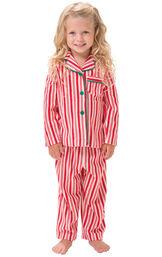 Model wearing Candy Cane Stripe Fleece PJ for Toddlers