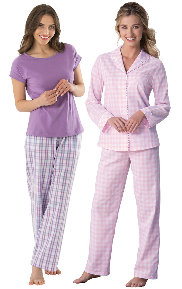 Models wearing Perfectly Plaid Pajamas and Heart2Heart Gingham Boyfriend Pajamas - Pink. image number 0