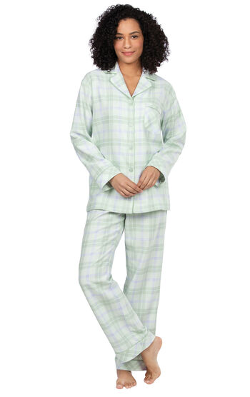 Addison Meadow|PajamaGram Frosted Flannel Pajamas - Sage Plaid