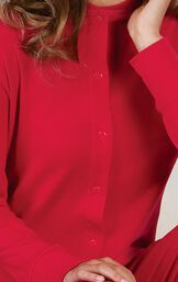 Close up of Red Dropseat Women's Pajamas button up front image number 5