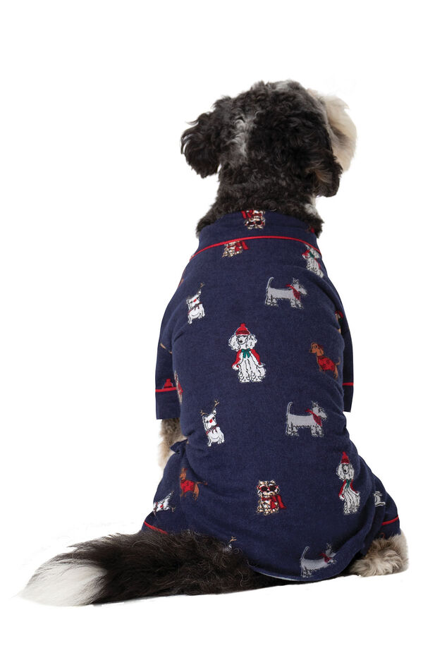 Christmas Dogs Flannel Dog Pajamas - Navy - Dog facing away from camera image number 1