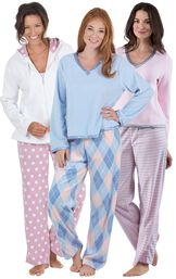 Models wearing Snuggle Fleece Pajamas - Pink Stripe, Snuggle Fleece Argyle Pajamas and Snuggle Fleece Hoodie Pajamas.
