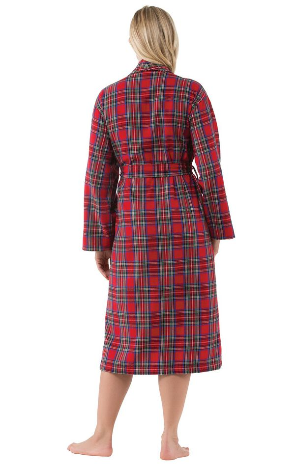 Model wearing Red Classic Plaid Wrap Robe for Women, facing away from the camera image number 1