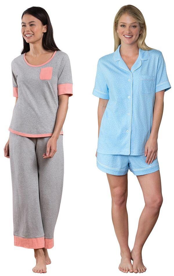Models wearing Cozy Capri Pajama Set - Gray and Oh-So-Soft Pin Dot Short Set - Blue. image number 0
