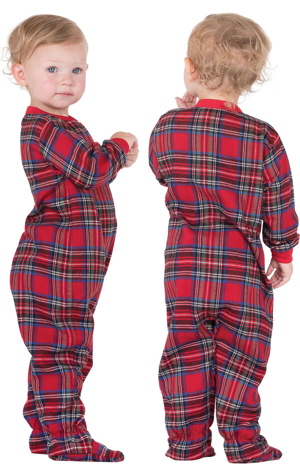 Model wearing Red Classic Plaid Onesie for Infants, facing away from the camera and then facing to the side image number 1