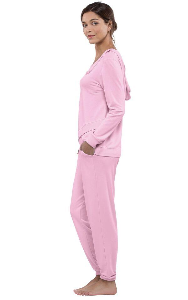 Model wearing Pink Hoodie PJs, facing to the side image number 2
