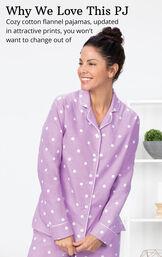 Lavender Dot Flannel Button-Front PJ for Women image number 3
