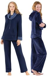 Models wearing World's Softest Pajamas - Navy and Tempting Touch PJs - Midnight Blue.