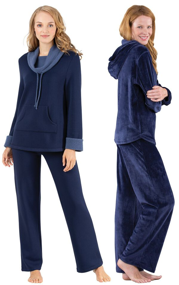 Models wearing World's Softest Pajamas - Navy and Tempting Touch PJs - Midnight Blue. image number 0