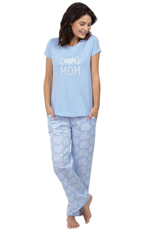 Model wearing Light Blue Paw Print Heart PJ for Women image number 0