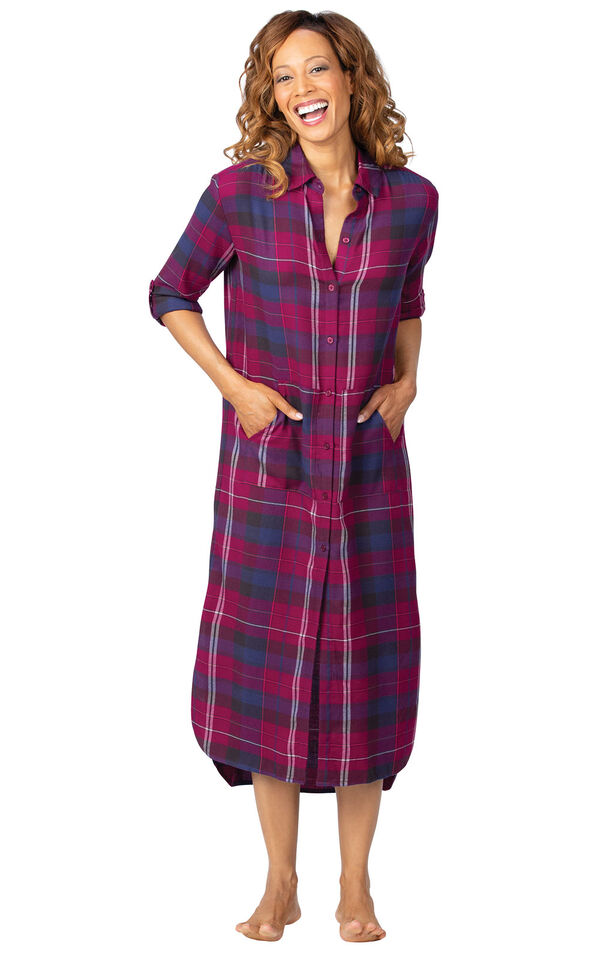 Model wearing Pink Plaid Gown for Women image number 1