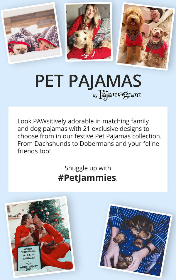 Customer photos of pets and owners wearing matching PajamaGram PJs with the following copy: Look PAWsitively adorable in matching family and dog pajamas with 21 exclusive designs to choose from in our festive Pet Pajamas Collection. From Dachshunds to Dobermans and your feline friends too! image number 4