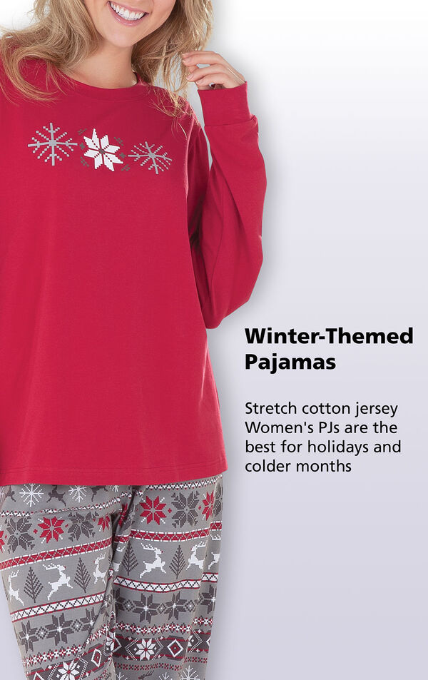 Close-up of Nordic Women's Pajamas Red Top. Stretch cotton jersey winter-themed pajamas are the best for holidays and colder months. image number 5