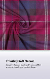 Close-Up of Black Cherry Plaid with the following copy: Infinitely Soft Flannel. Exclusive flannel made with rayon offers a smooth touch and perfect drape. image number 5