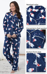 Polar Bear Fleece Women's Pajamas feature a notched collar, convenient chest pocket and button-front style image number 4