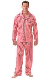Model wearing Candy Cane Stripe Fleece PJ for Men