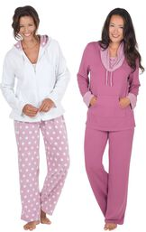 Models wearing Snuggle Fleece Hoodie Pajamas and World's Softest Pajamas - Raspberry.