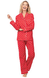 Model wearing Red Polka Dot Button-Front PJ for Women image number 0