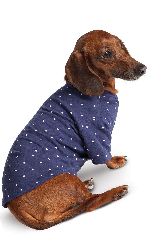 Model wearing Navy Blue and White Polka Dot PJ - Pet image number 0
