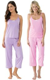 Models wearing Classic Polka-Dot Capri Pajamas - Lavender and Classic Polka-Dot Capri Pajamas - Pink. image number 0