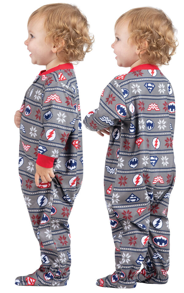 Model wearing Red and Blue Justice League Onesie for Infants, facing away from the camera and then to the side image number 1