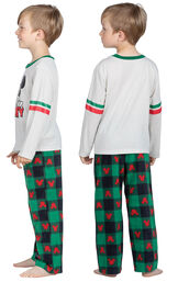 Model wearing Red and Green Mickey Mouse Holiday PJs for Youth, facing away from the camera and facing to the side image number 1