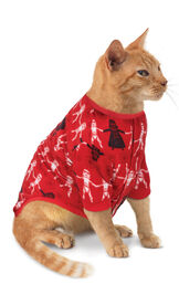Model wearing Red Star Wars PJ for Cats