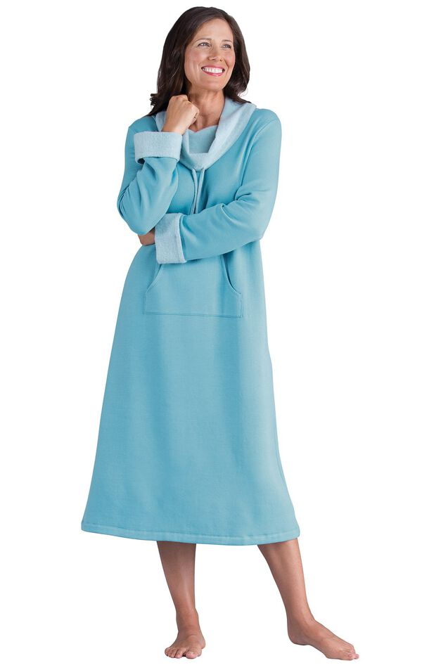 Model wearing World's Softest Teal Cowl-Neck Gown for Women image number 0