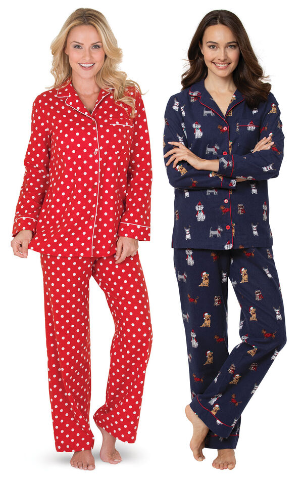Navy Christmas Dogs and Red Polka-Dot Boyfriend PJs Gift Set image number 0