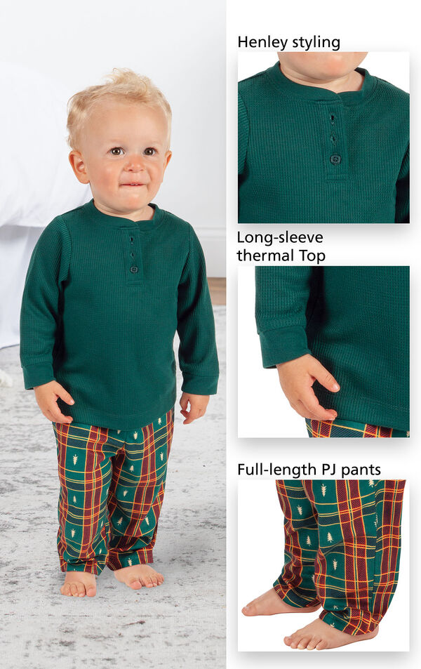 Close-ups of Christmas Tree Plaid Infant Pajamas Henley styling, long-sleeve thermal top and full-length PJ pants image number 3