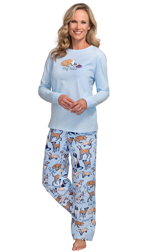 Model wearing Light Blue Dog Tired Print PJ for Women image number 0