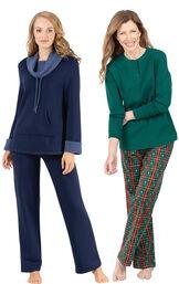 Models wearing Christmas Tree Plaid Pajamas and World's Softest Pajamas - Navy.